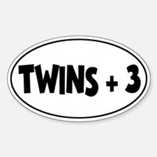 Twins Plus Three - Oval Decal
