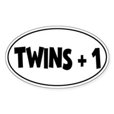 Twins Plus One - Oval Decal