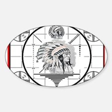 TV Test Pattern Indian Chief Oval Decal