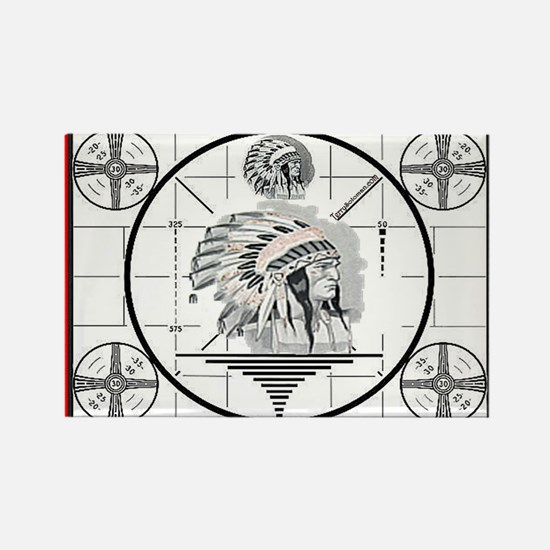 TV Test Pattern Indian Chief Rectangle Magnet