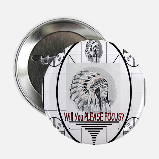 "TV Test Pattern Indian Chief 2.25"" Button"
