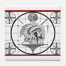 TV Test Pattern Indian Chief Tile Coaster