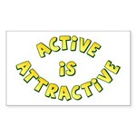 Active Is Attractive White Rectangle Sticker 50 p
