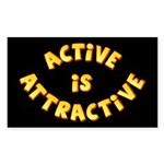 Active Is Attractive Black Rectangle Sticker 50 p