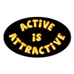 Active Is Attractive Black Oval Sticker (50 pk)