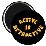 "Active Is Attractive Black 2.25"" Magnet (10 pack)"