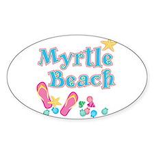 Myrtle Beach Flip-Flops - Oval Decal