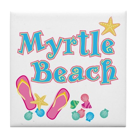 Myrtle Beach Flip-Flops - Tile Coaster
