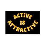 Active Is Attractive Black Rectangle Magnet
