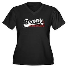 Team Switzerland Women's Plus Size V-Neck Dark T-S