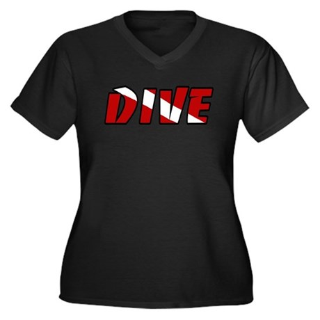 JUST DIVE Women's Plus Size V-Neck Dark T-Shirt
