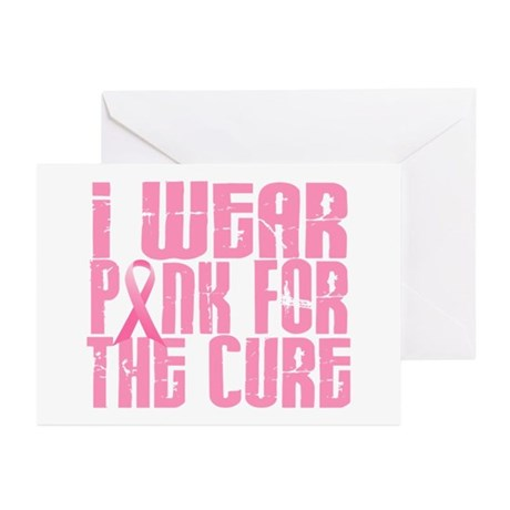 I Wear Pink For The Cure 16 Greeting Cards (Pk of