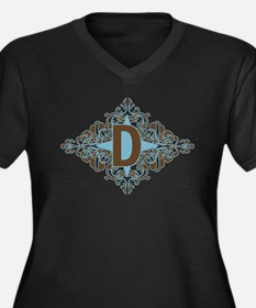 D Monogram Letter D Women's Plus Size V-Neck Dark
