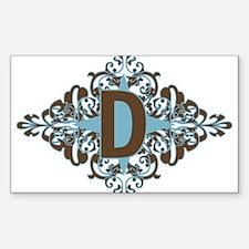 D Monogram Letter D Rectangle Sticker 50 pk)