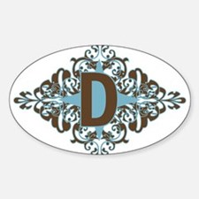 D Monogram Letter D Oval Decal