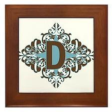 D Monogram Letter D Framed Tile