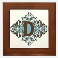 D Monogram Letter D Framed Tile