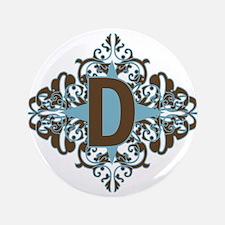 """D Monogram Letter D 3.5"""" Button"""