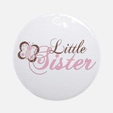 Pink Butterfly Little Sister Ornament (Round)