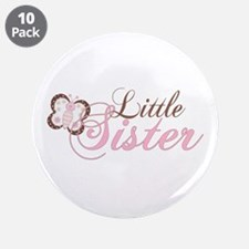 """Pink Butterfly Little Sister 3.5"""" Button (10 pack)"""