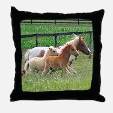Three Mini Horses Running Throw Pillow