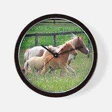Three Mini Horses Running Wall Clock