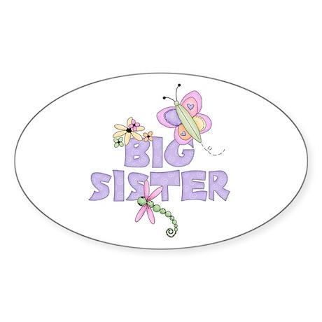 Cute Bugs Big Sister Oval Sticker
