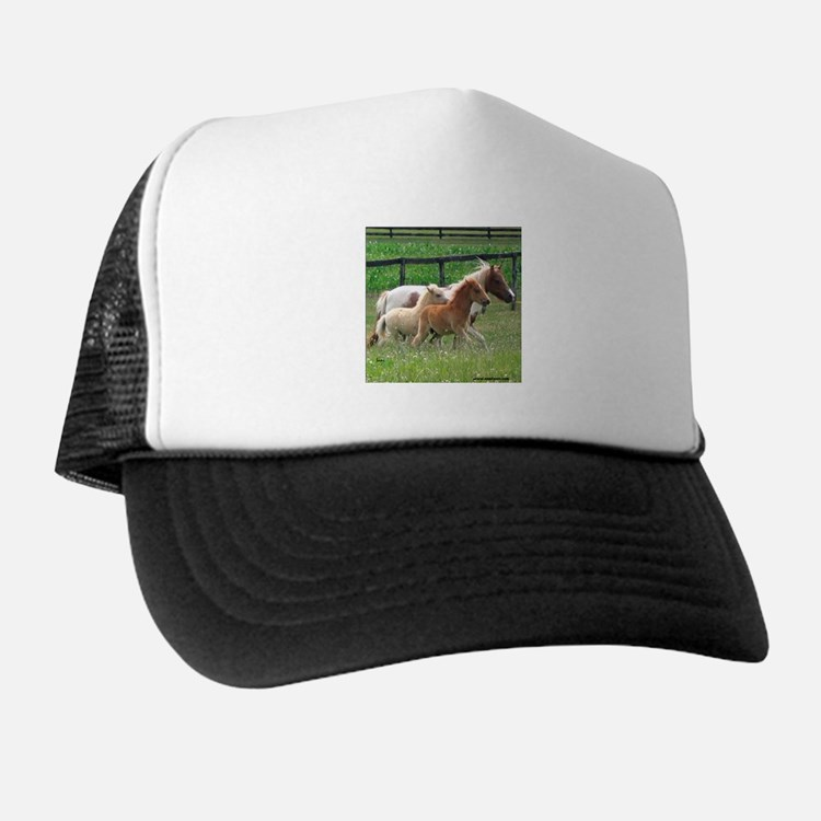 Three Mini Horses Running Trucker Hat