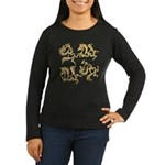 Golden Horses Batik Women's Long Sleeve Dark T-Shi