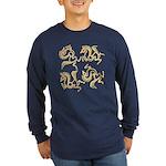 Golden Horses Batik Long Sleeve Dark T-Shirt