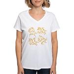 Golden Horses Batik Women's V-Neck T-Shirt