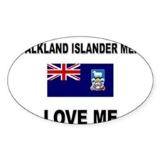 Falkland Islander Men Love Me Oval Decal