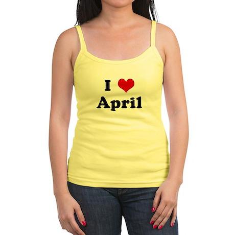 I Love April Jr. Spaghetti Tank