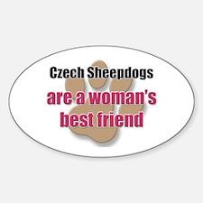 Czech Sheepdogs woman's best friend Oval Decal