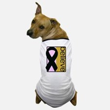 Pink and Gold (Believe) Ribbon Dog T-Shirt
