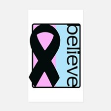 Pink and Blue (Believe) Ribbon Rectangle Decal