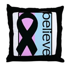 Pink and Blue (Believe) Ribbon Throw Pillow