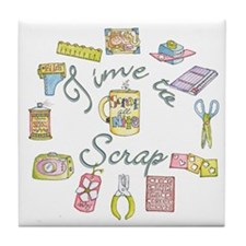 Time to Scrap by Leah Tile Coaster
