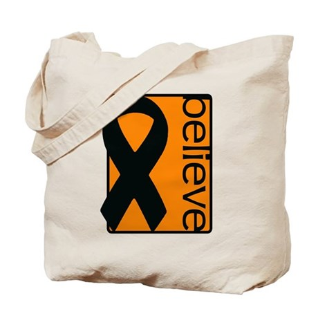 Orange (Believe) Ribbon Tote Bag