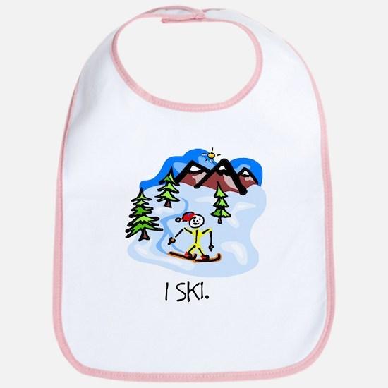 I Ski Stick Figure Bib
