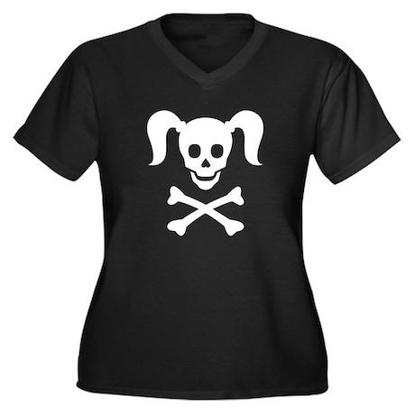 Curly Girlie Skull Women's Plus Size V-Neck Dark T