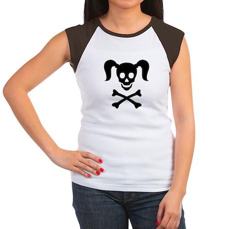 Curly Girlie Skull Women's Cap Sleeve T-Shirt