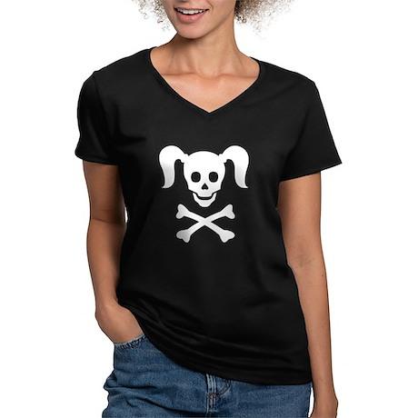 Curly Girlie Skull Women's V-Neck Dark T-Shirt