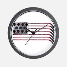 US Hockey Flag Wall Clock