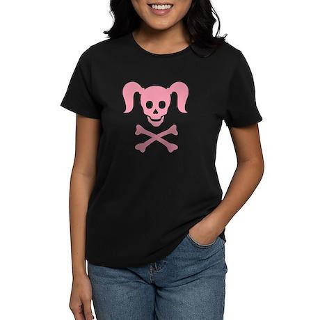 Curly Girlie Skull Women's Dark T-Shirt