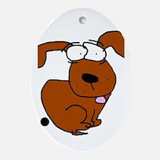 Cute Dog poop Oval Ornament
