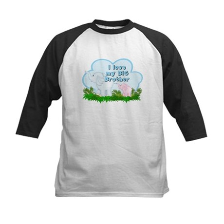 Elephant I Love Big Brother Kids Baseball Jersey