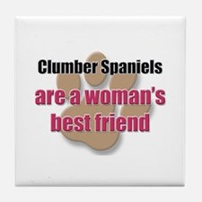 Clumber Spaniels woman's best friend Tile Coaster