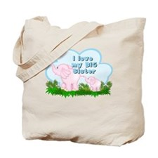 Elephant I Love Big Sister Tote Bag