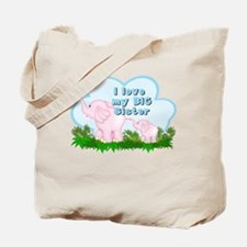 Elephant I Love Big Sister Tote Bag